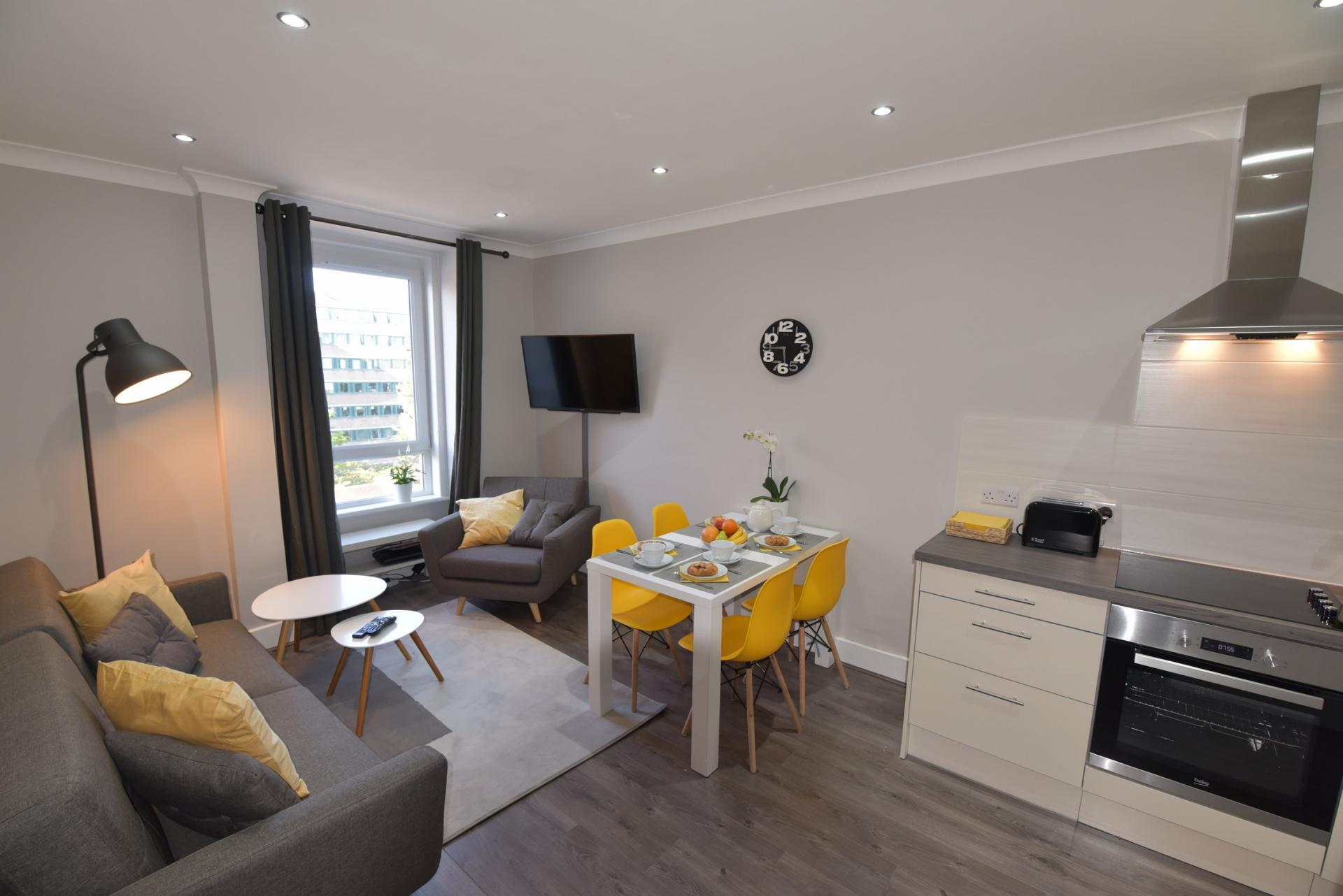 Lounge at Meadowbank House Apartment, Jock's Lodge, Edinburgh - Citybase Apartments