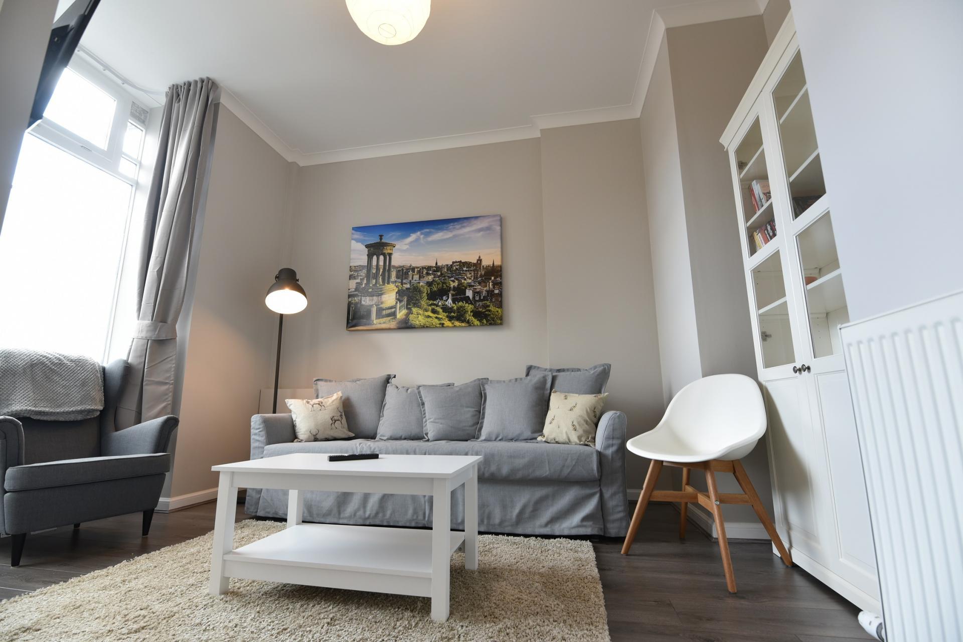 Lounge at Pleasance Luxury Apartment, Newington, Edinburgh - Citybase Apartments