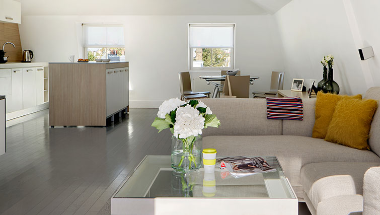 Open plan living area at Nevern Place Aparthotel, Earls Court, London - Citybase Apartments