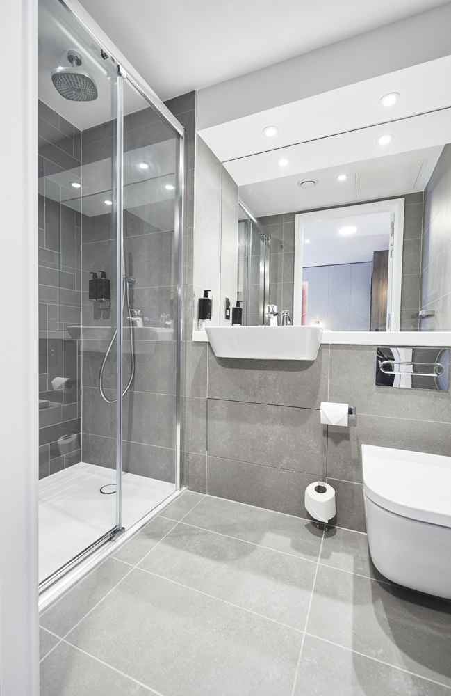 Ensuite Bathroom at Roomzzz Aparthotel York, Centre, York - Citybase Apartments