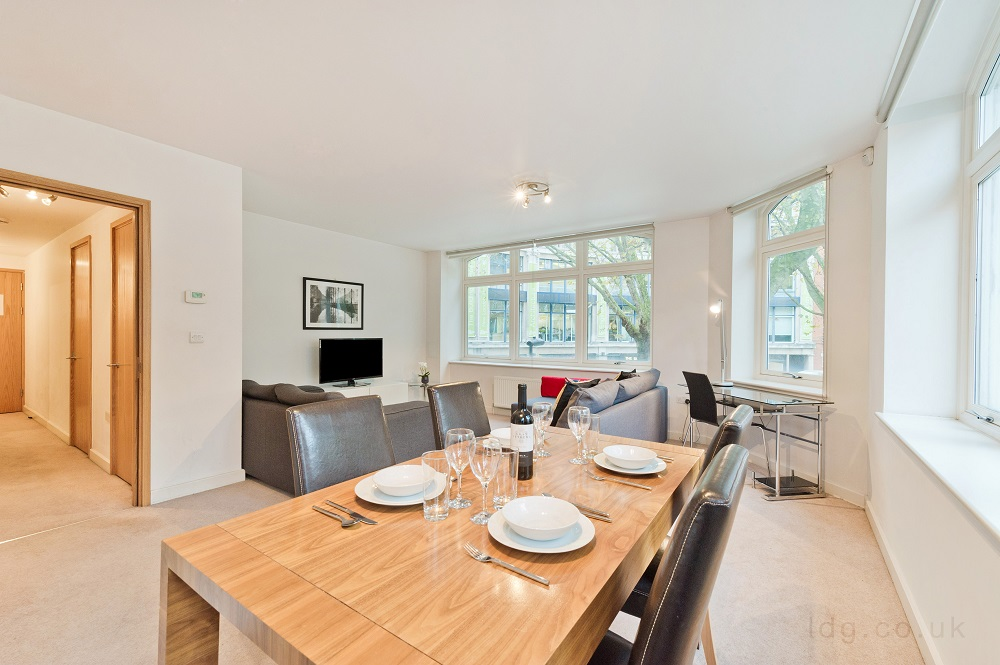 Dining area at Alfred Place Apartments, Fitzrovia, London - Citybase Apartments