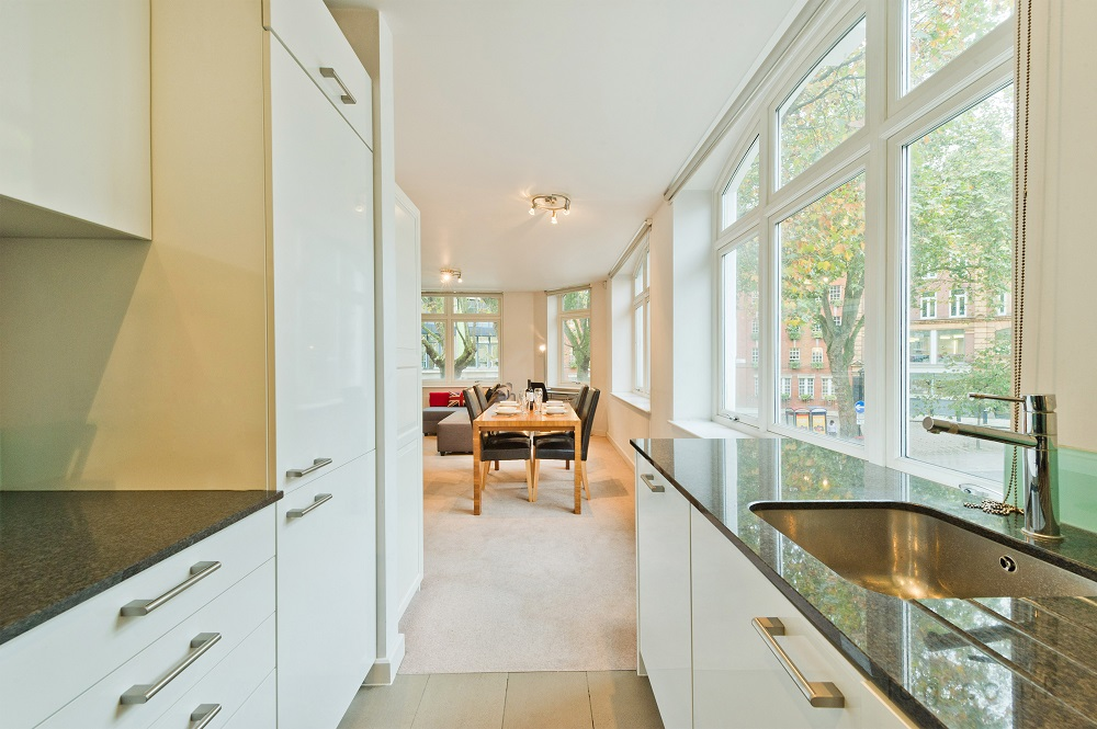 Modern kitchen at Alfred Place Apartments, Fitzrovia, London - Citybase Apartments