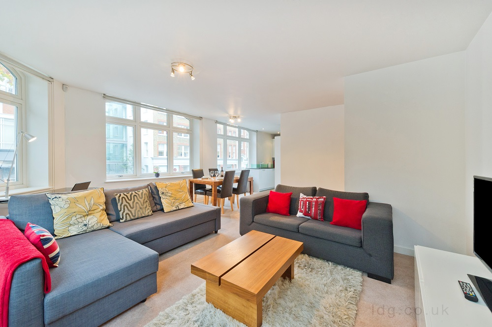 Living area at Alfred Place Apartments, Fitzrovia, London - Citybase Apartments