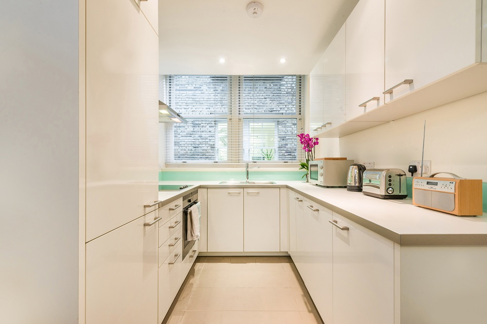 Sleek kitchen at Alfred Place Apartments, Fitzrovia, London - Citybase Apartments