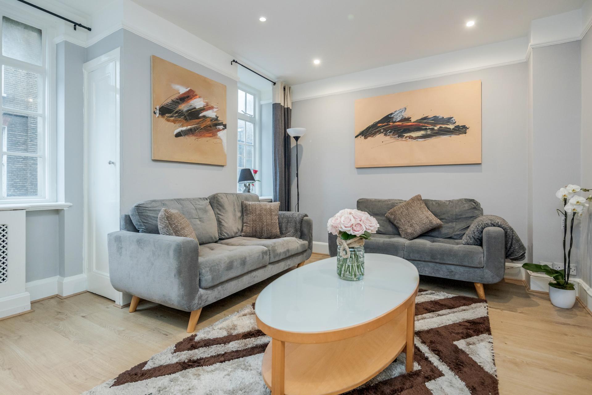 Sofas at Marylebone Luxury Apartments, Marylebone, London - Citybase Apartments