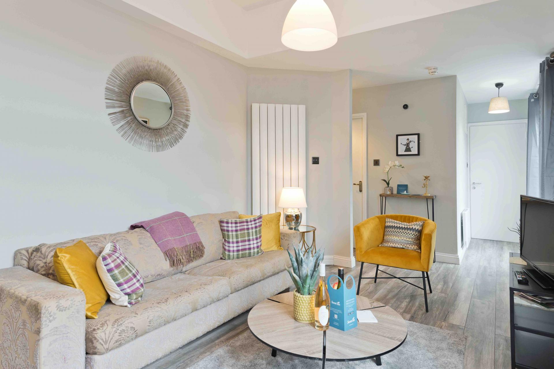 Sofa at Crow Street Apartment, Temple Bar, Dublin - Citybase Apartments