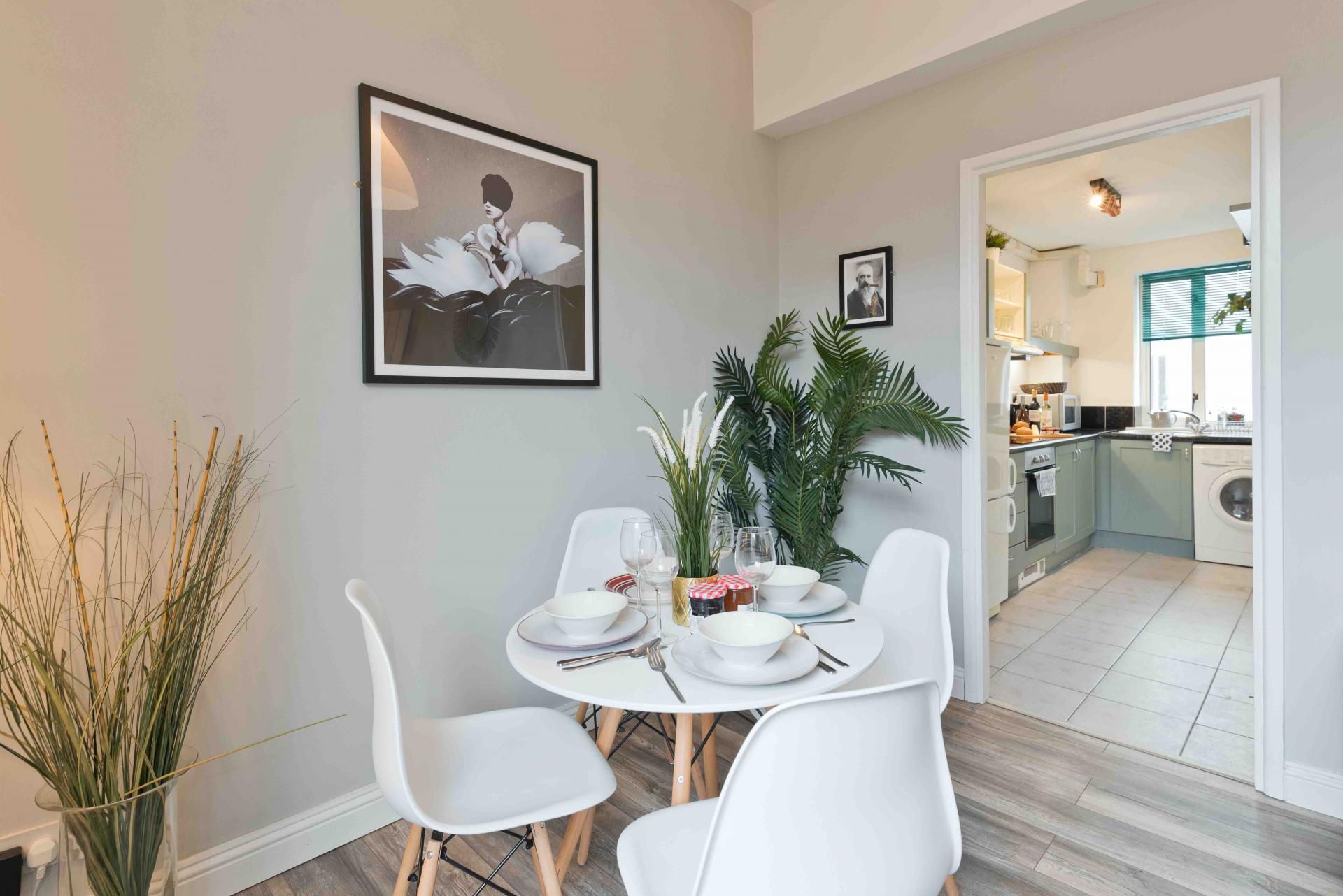 Dining area at Crow Street Apartment, Temple Bar, Dublin - Citybase Apartments