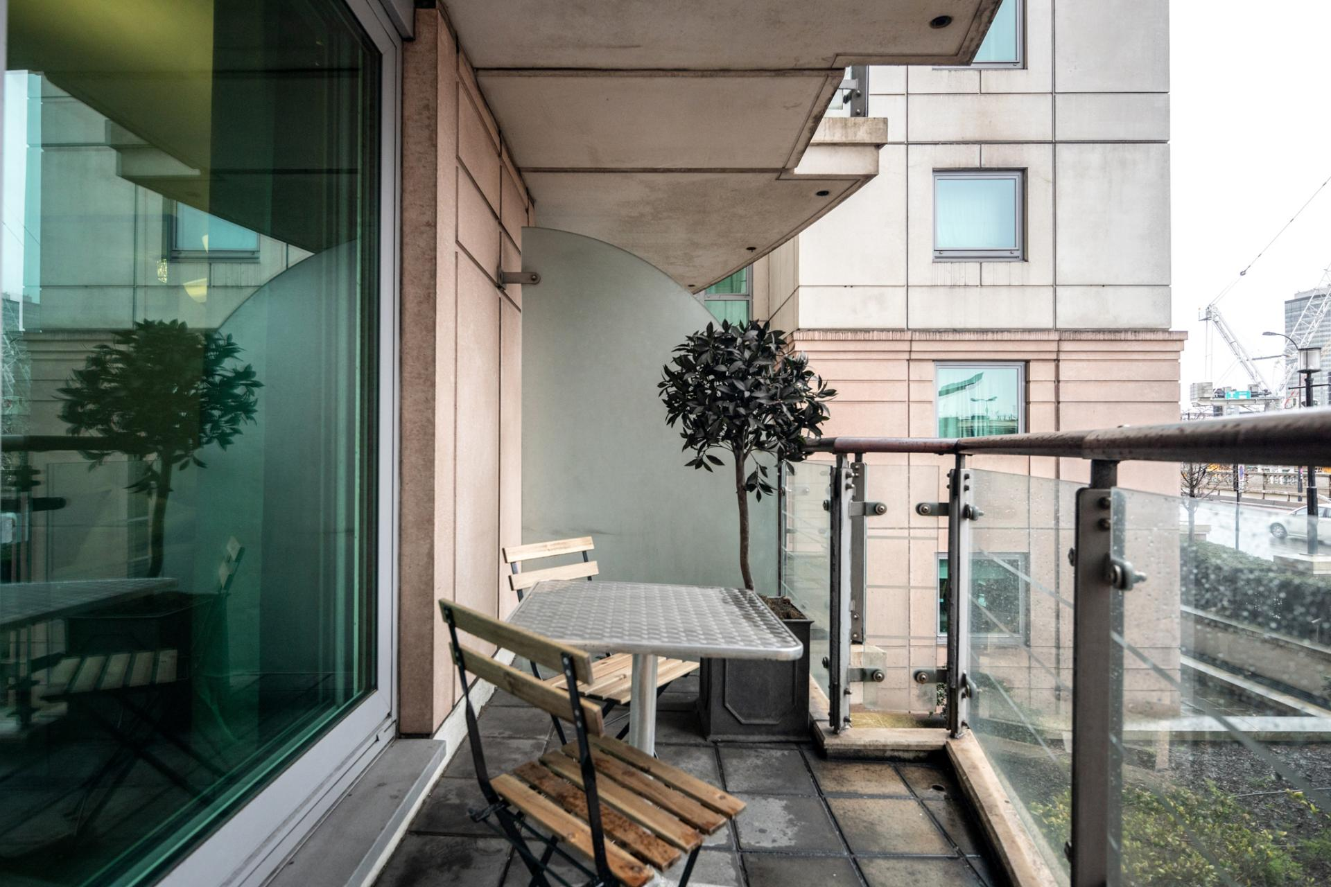 Balcony at St Georges Wharf Apartment, Vauxhall, London - Citybase Apartments
