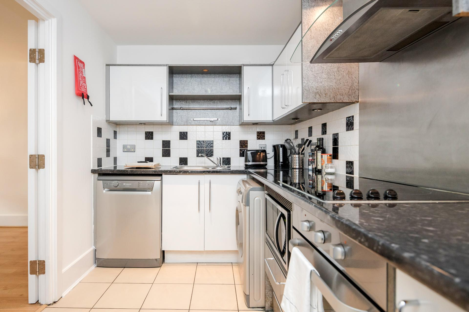 Kitchen at St Georges Wharf Apartment, Vauxhall, London - Citybase Apartments