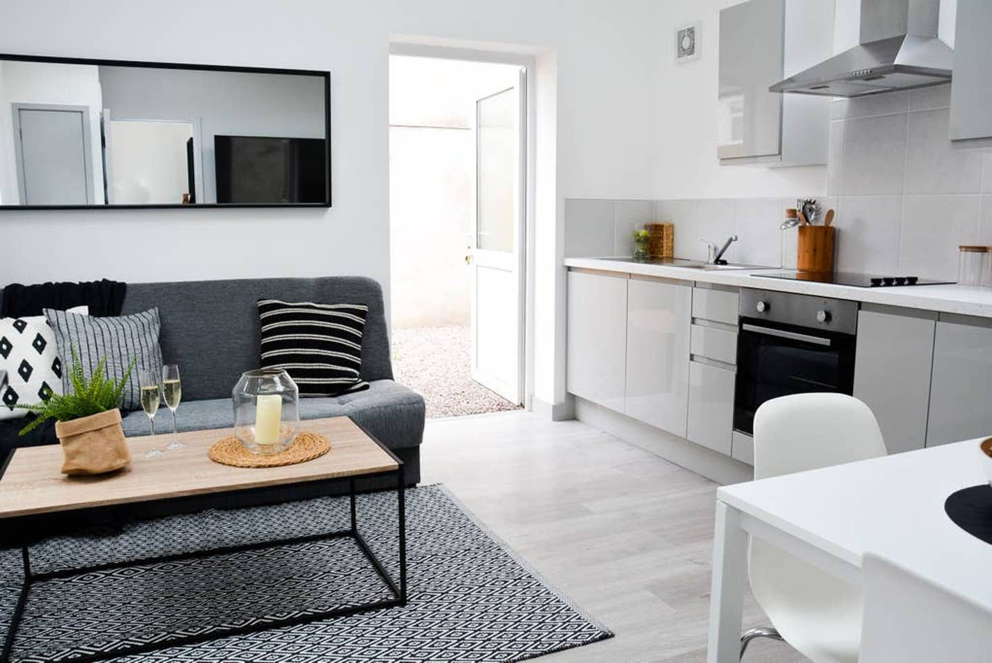 Open-plan lounge at Pearl House Serviced Apartments, Roath, Cardiff - Citybase Apartments