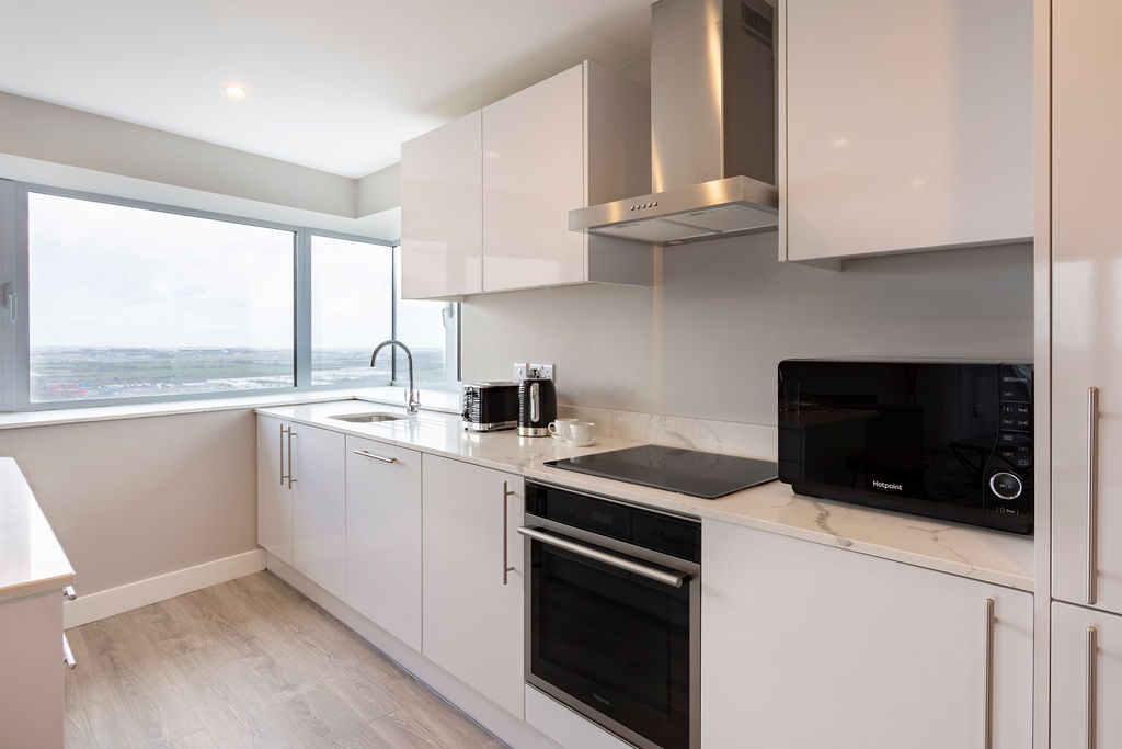 Modern kitchen at Metro Hotel Dublin Airport, Ballymun, Dublin - Citybase Apartments