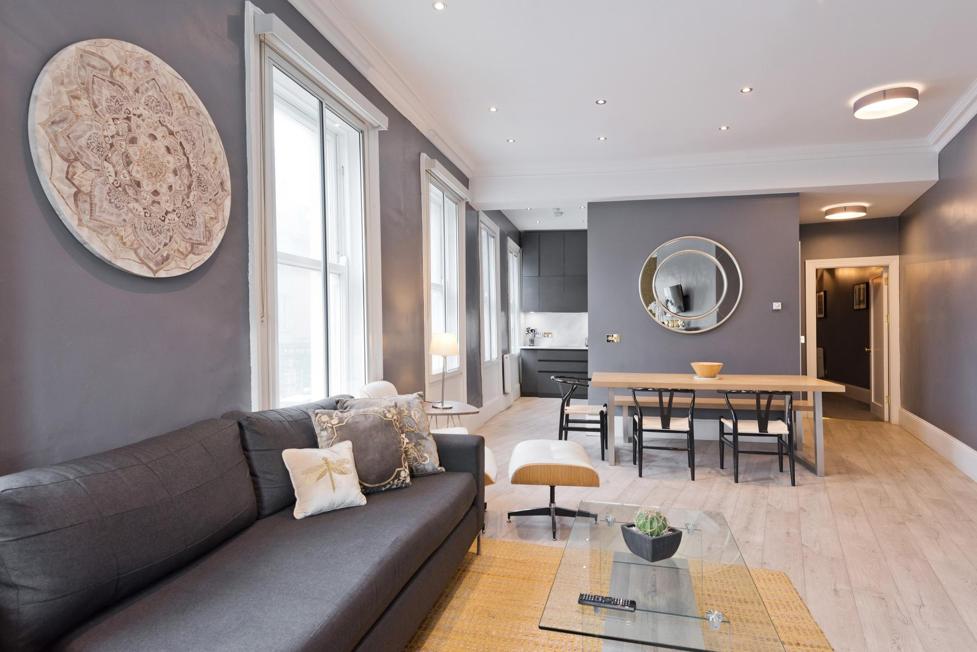 Open plan living area at Dawson Street Apartments, Portobello, Dublin - Citybase Apartments