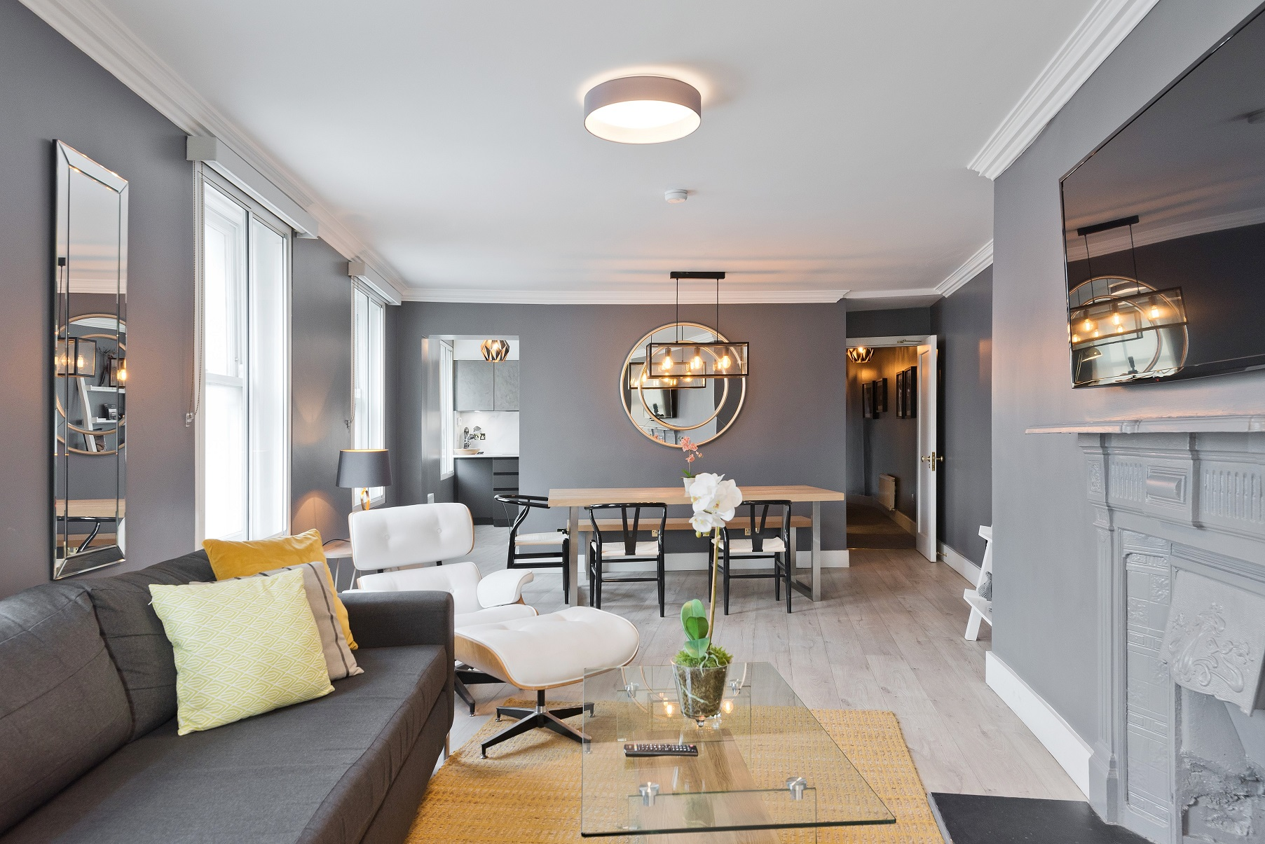 Bright living area at Dawson Street Apartments, Portobello, Dublin - Citybase Apartments
