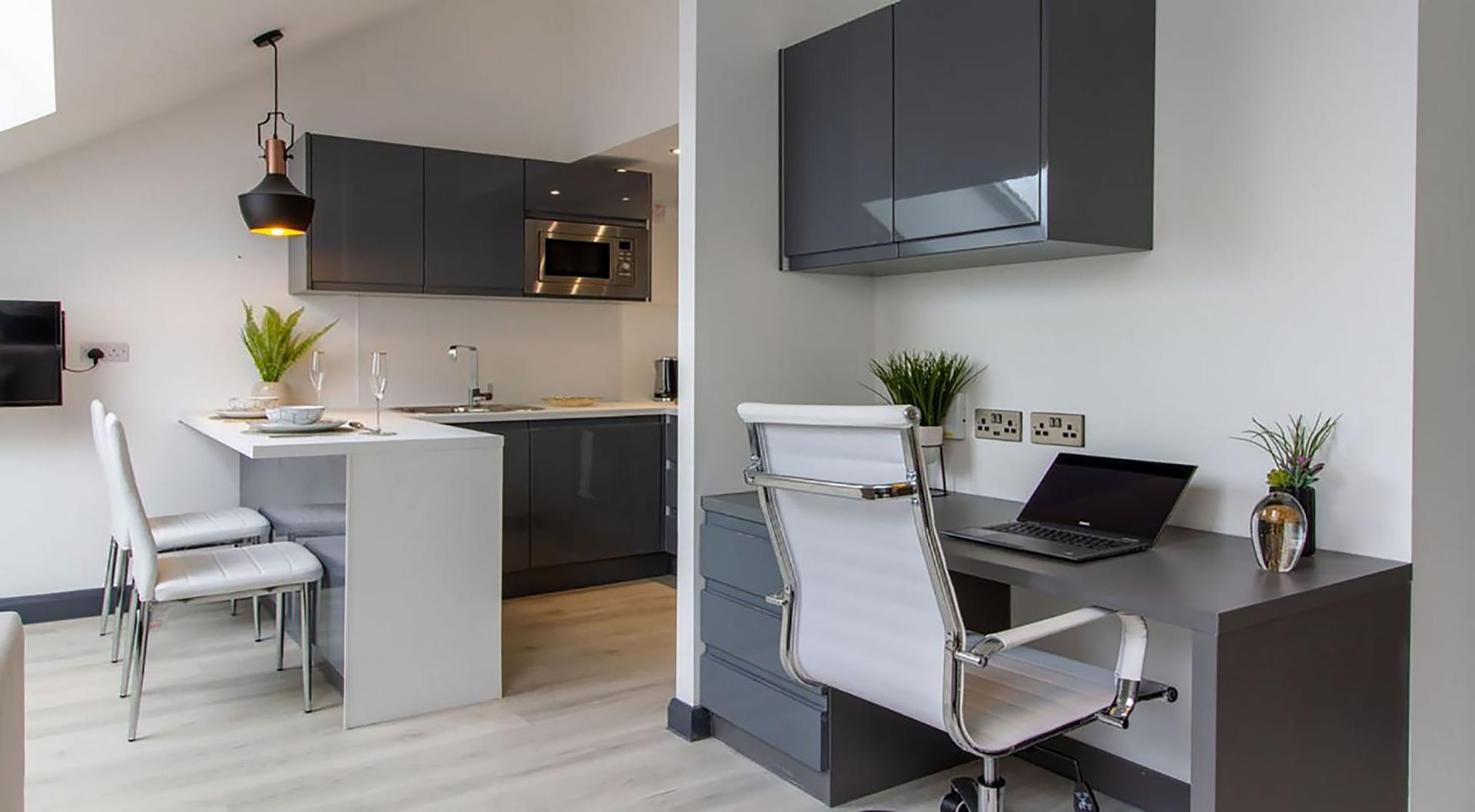Work desk at The Residence Coventry, Centre, Newmarket - Citybase Apartments