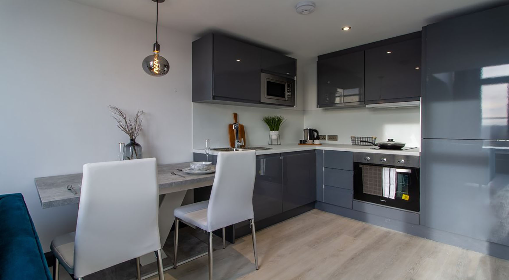 Kitchen diner at The Residence Coventry, Centre, Newmarket - Citybase Apartments