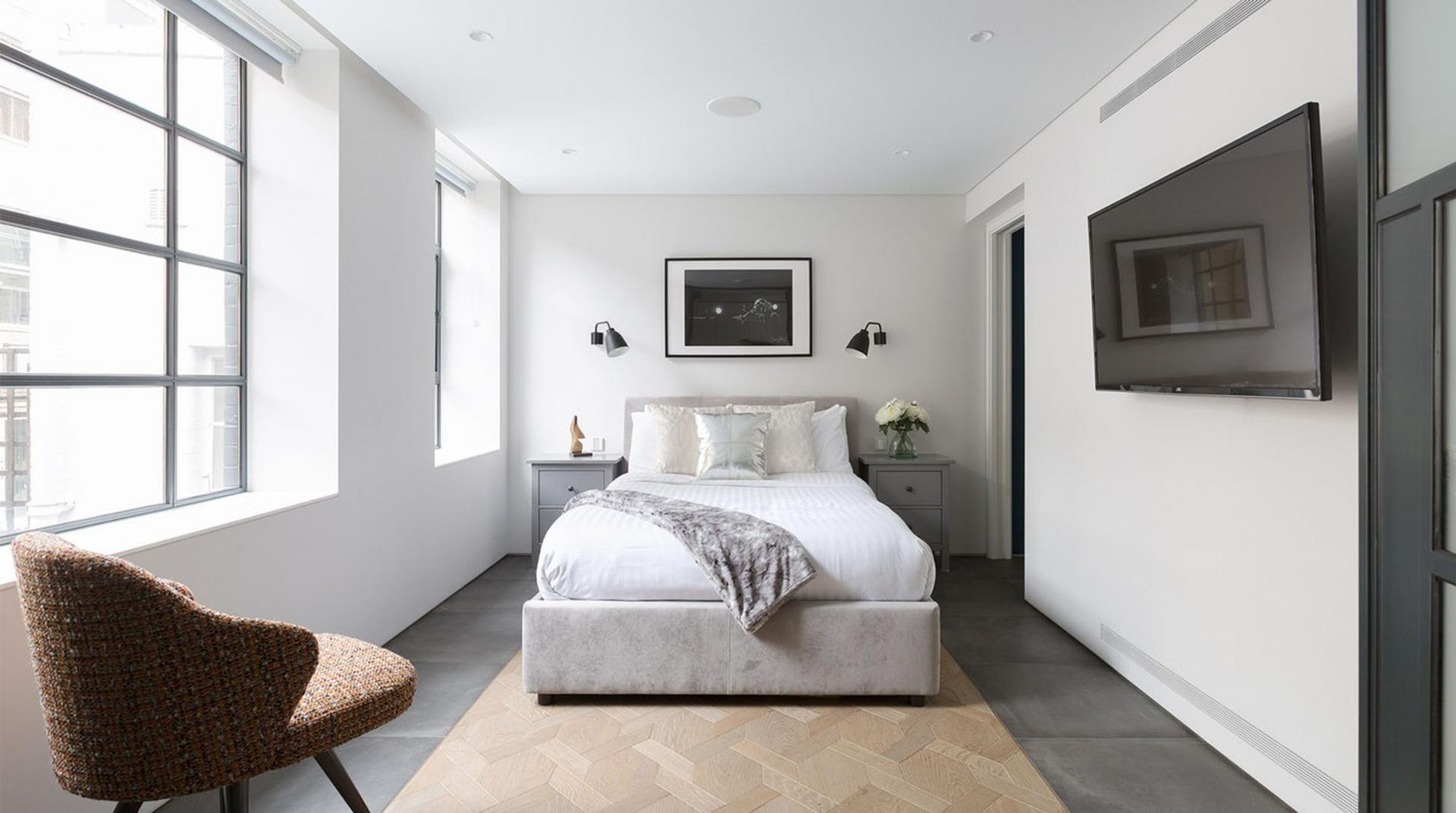Bright bedroom at Royalty Mews, Carnaby, London - Citybase Apartments