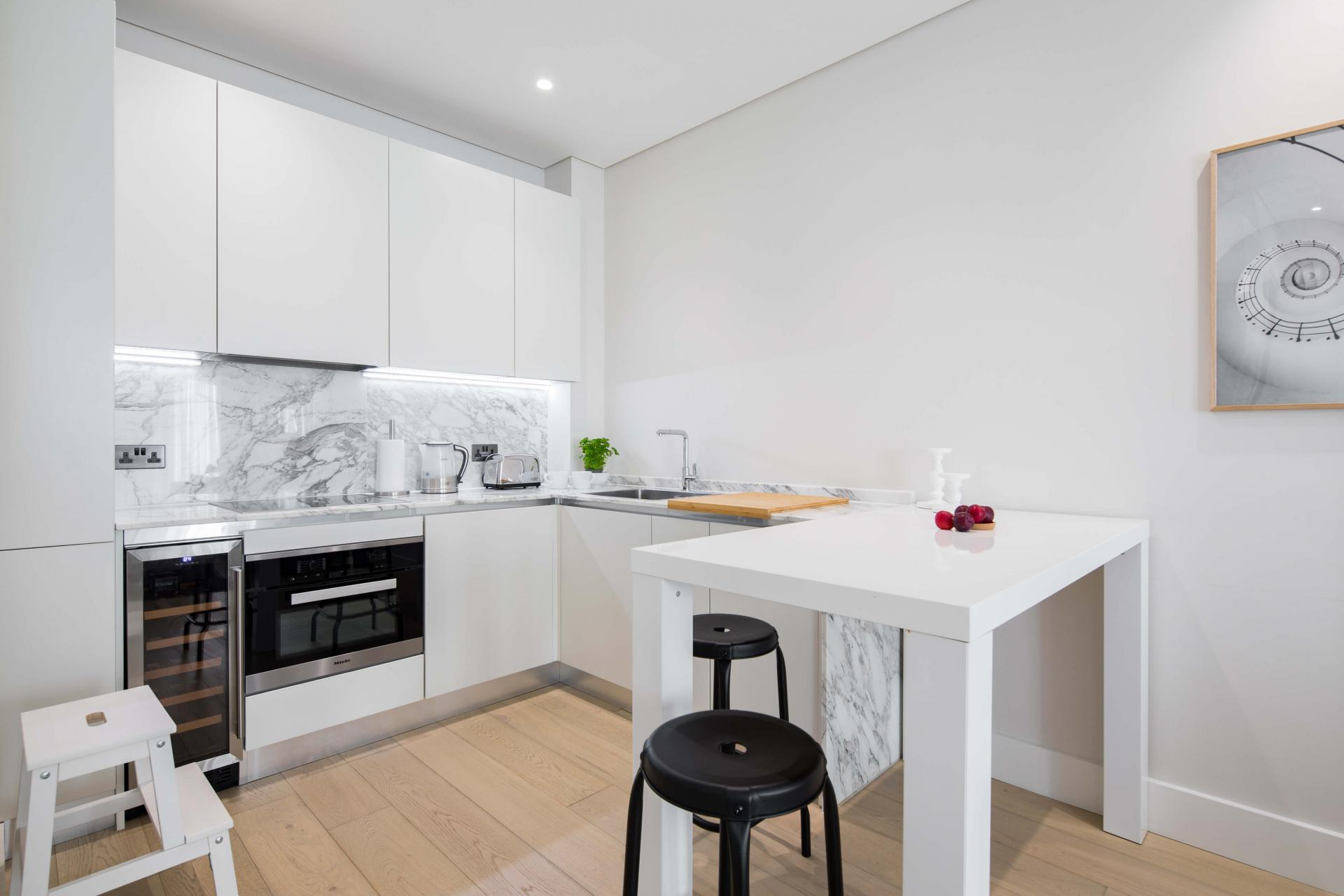 Breakfast bar at Castle Lane Apartments, Westminster, London - Citybase Apartments