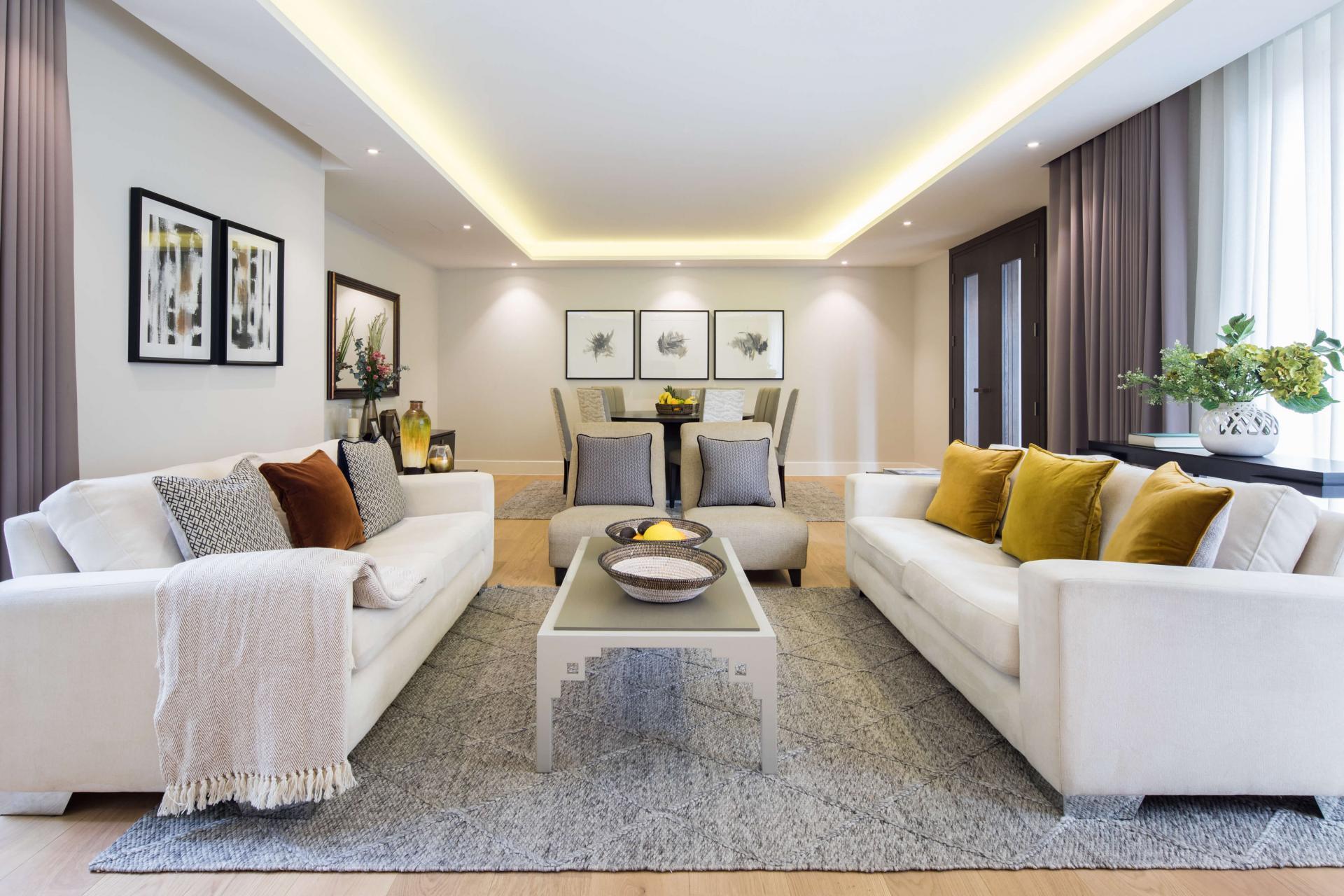Living area at Logan Place Apartments, Kensington, London - Citybase Apartments