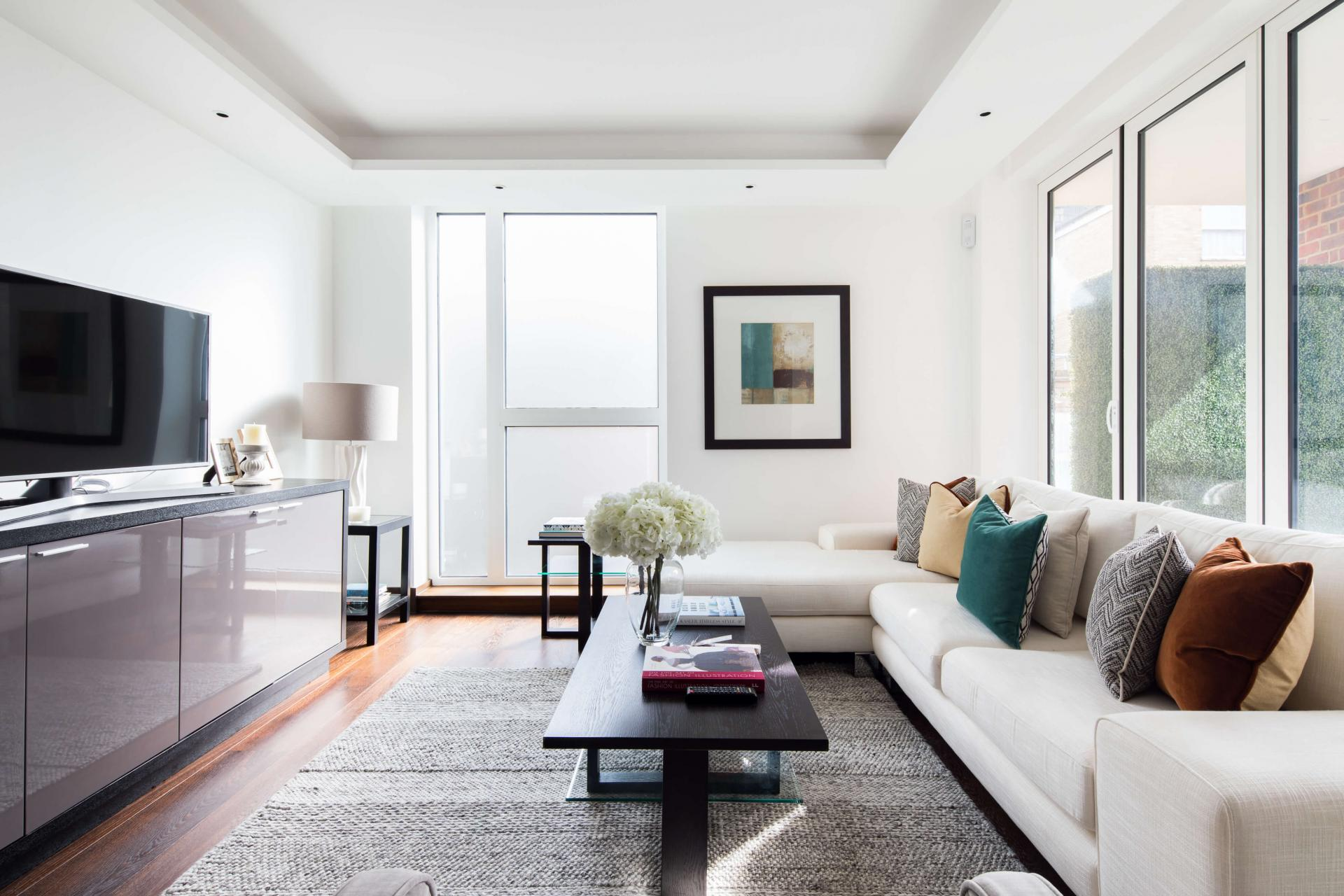Sofas at Logan Place Apartments, Kensington, London - Citybase Apartments