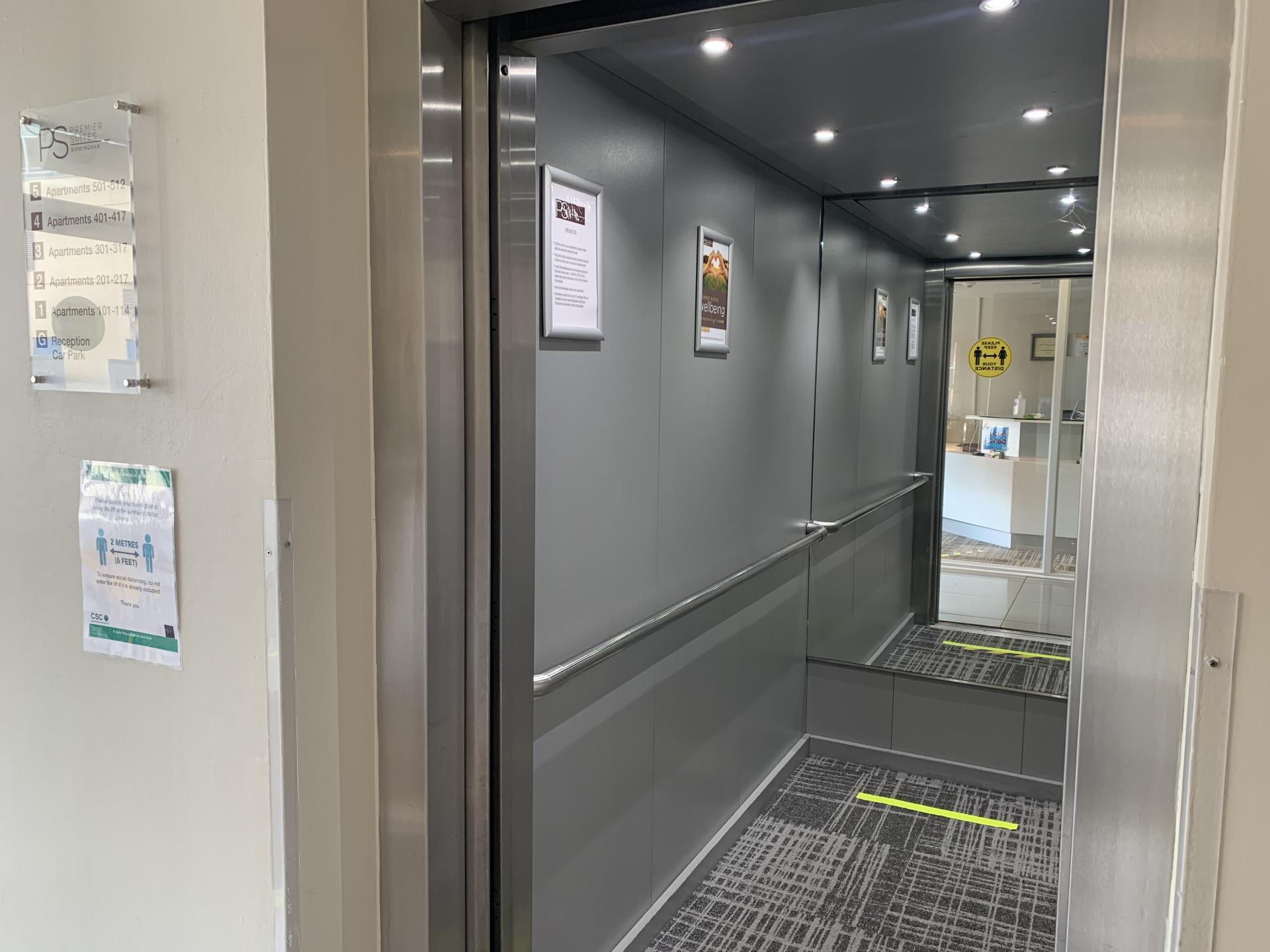 Lift at Premier Suites Birmingham - Citybase Apartments