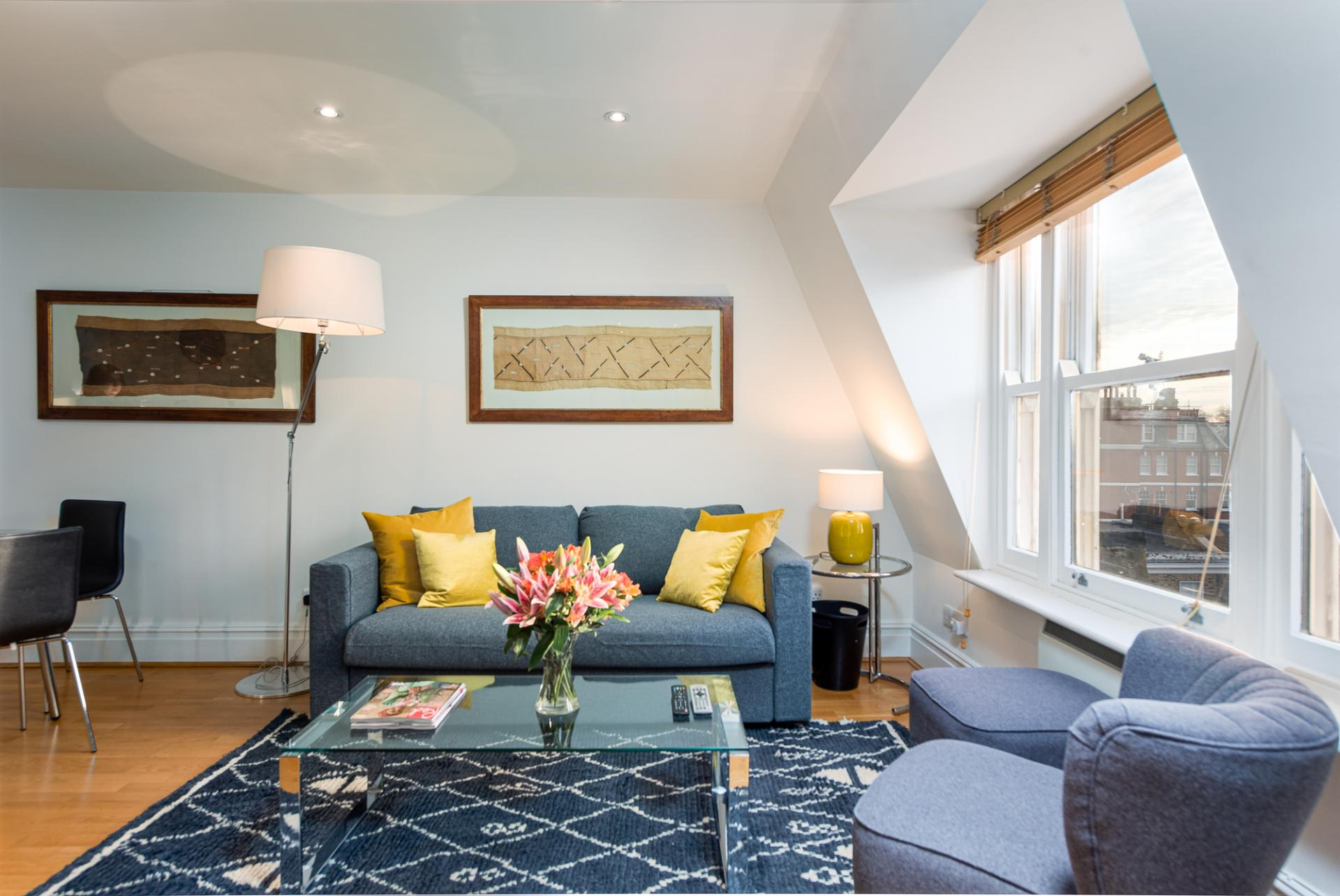 Sofa at Draycott Place Serviced Apartments, Chelsea, London - Citybase Apartments