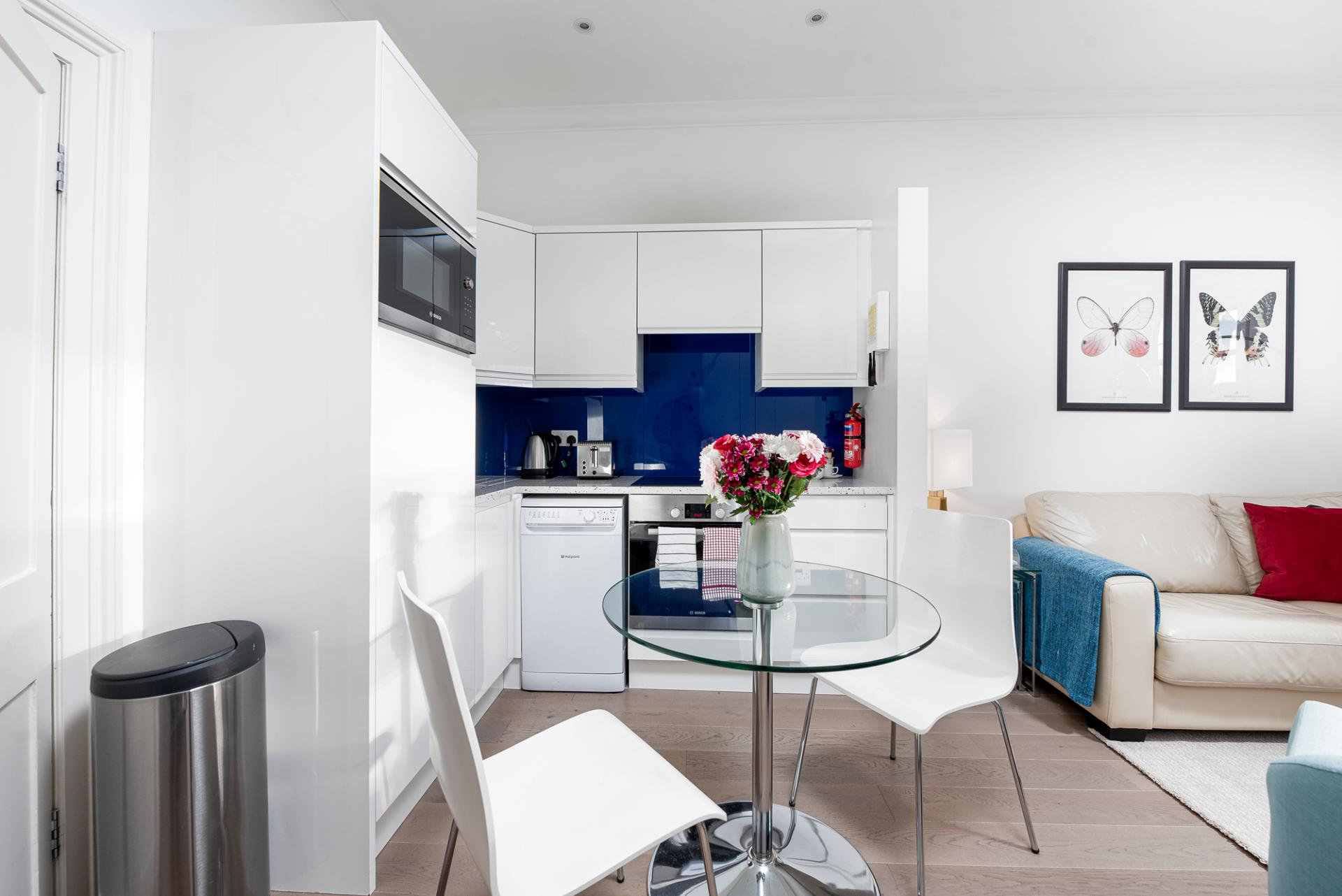 Dining area at Draycott Place Serviced Apartments, Chelsea, London - Citybase Apartments