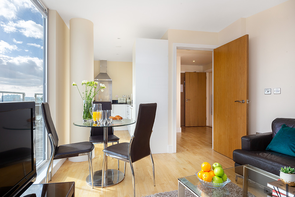 Dining Area at Lanterns Court, Canary Wharf, London - Citybase Apartments