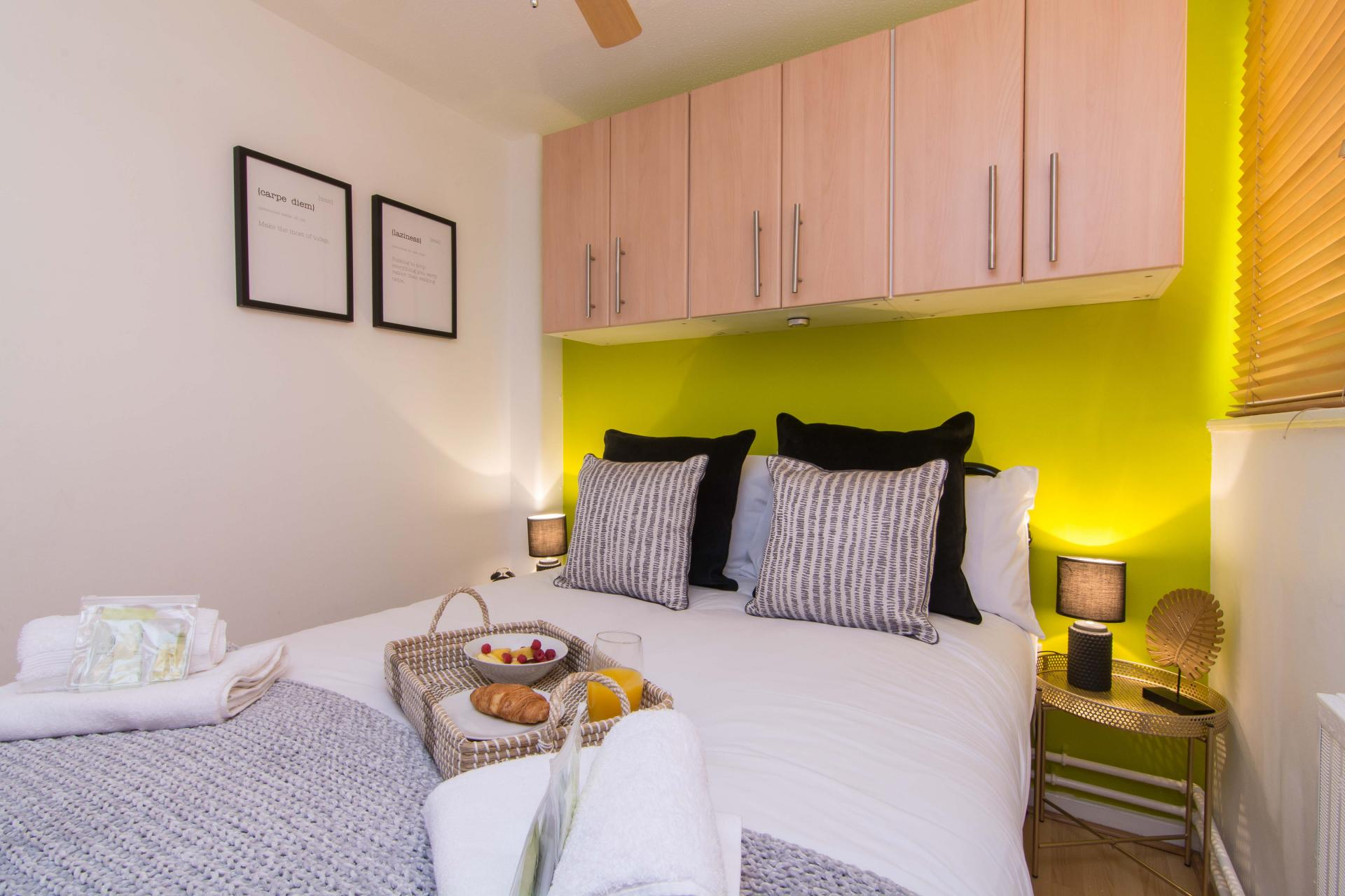 Breakfast in bed at Victoria Centre Apartment, Centre, Nottingham - Citybase Apartments