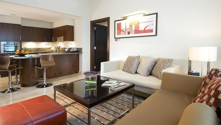 Gorgeous living area in Grand Millennium Al Wahda Apartments - Citybase Apartments