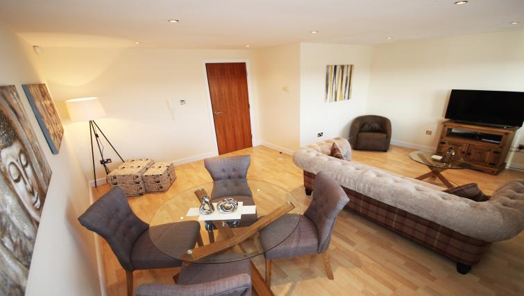 Living area/dining area at High Quays Apartments - Citybase Apartments