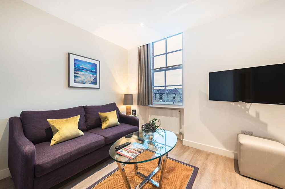 Living area at Thistle Street Braid Apartments, Centre, Edinburgh - Citybase Apartments
