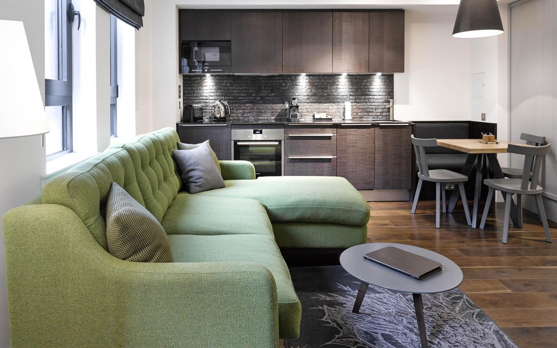 Open plan living area at Cheval Old Town Chambers, Old Town, Edinburgh - Citybase Apartments
