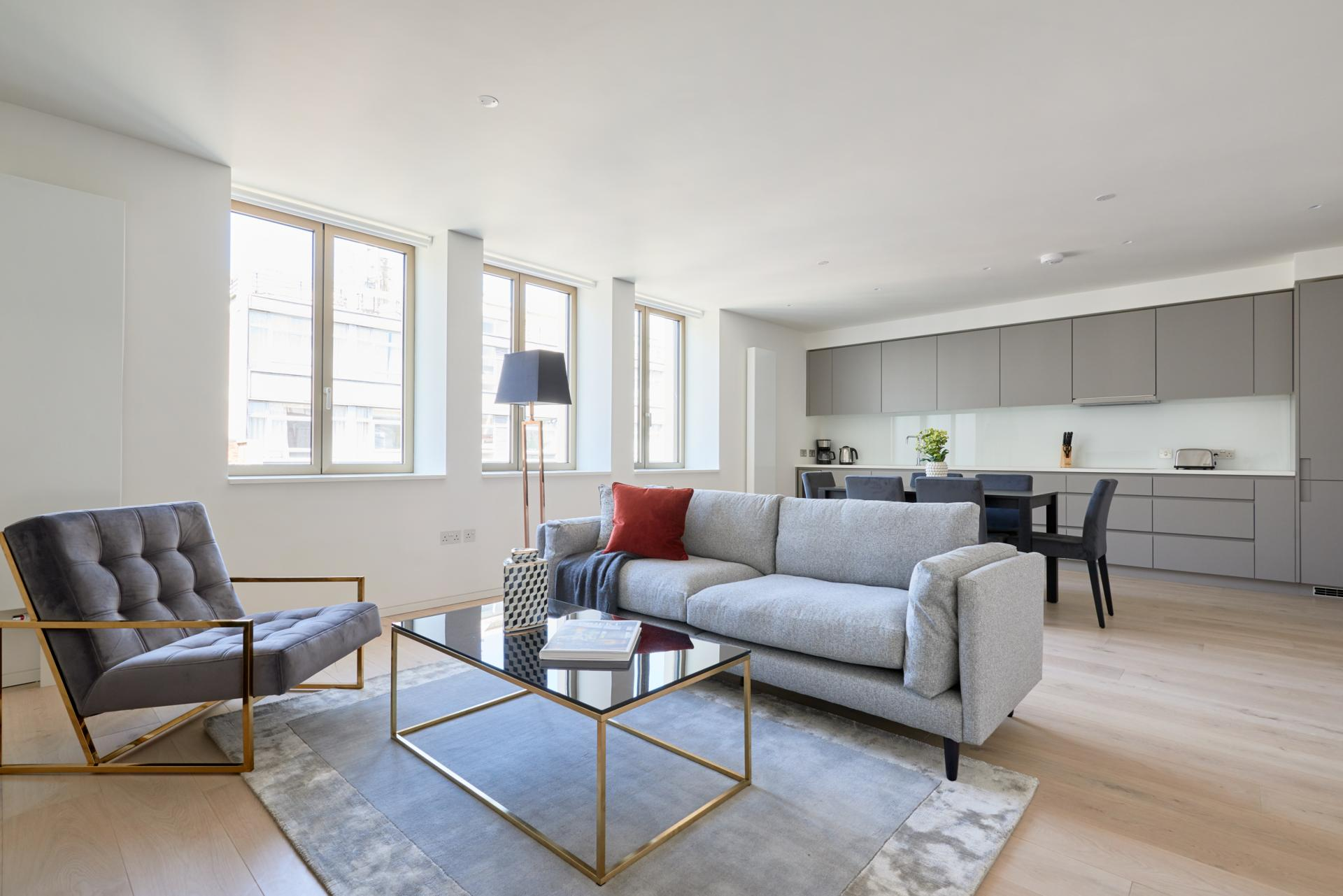 Living area at Great Portland Street Apartments, Fitzrovia, London - Citybase Apartments