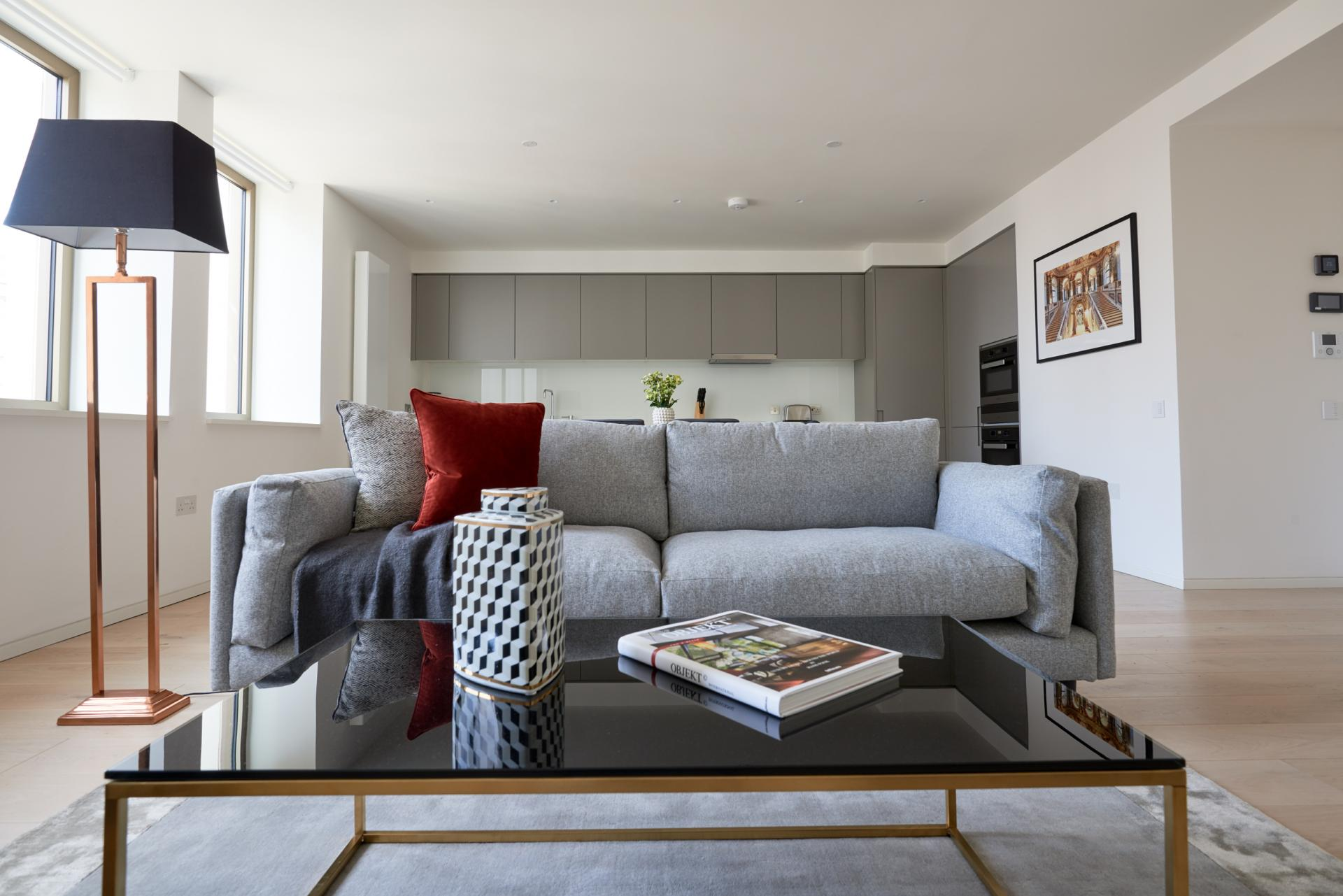 Sofa at Great Portland Street Apartments, Fitzrovia, London - Citybase Apartments