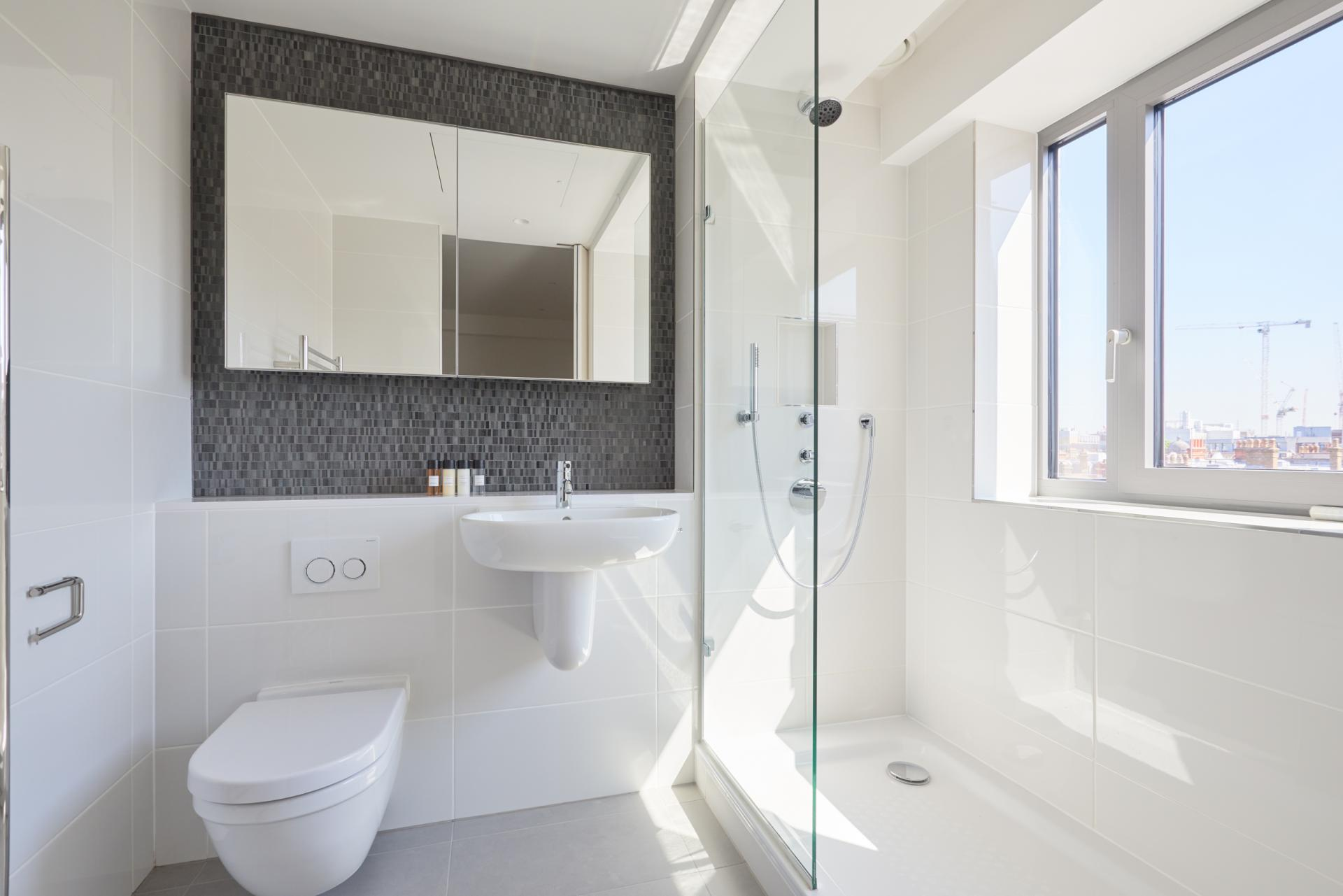 Shower at Great Portland Street Apartments, Fitzrovia, London - Citybase Apartments