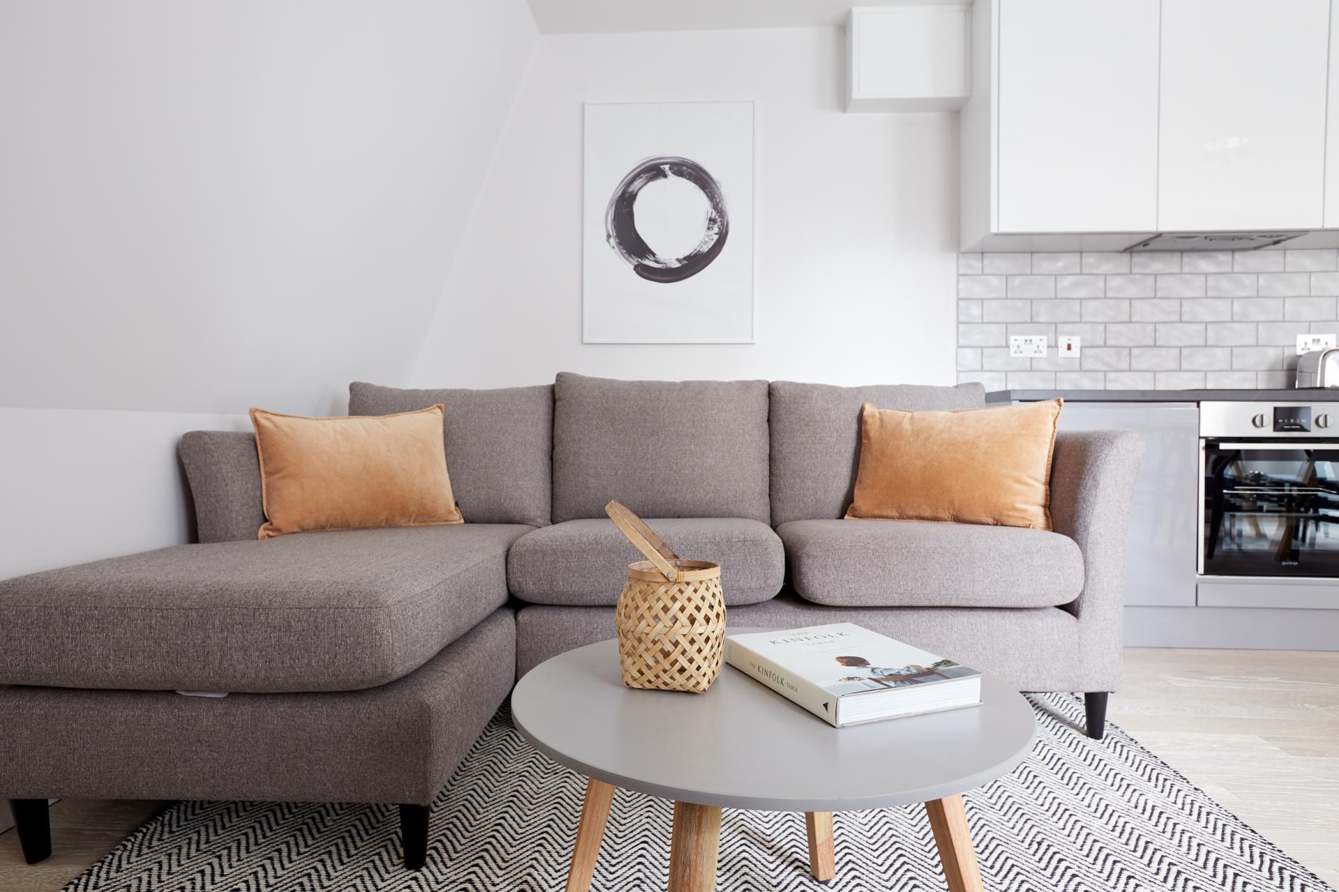 Sofa at Virginia House Apartments, Fitzrovia, London - Citybase Apartments