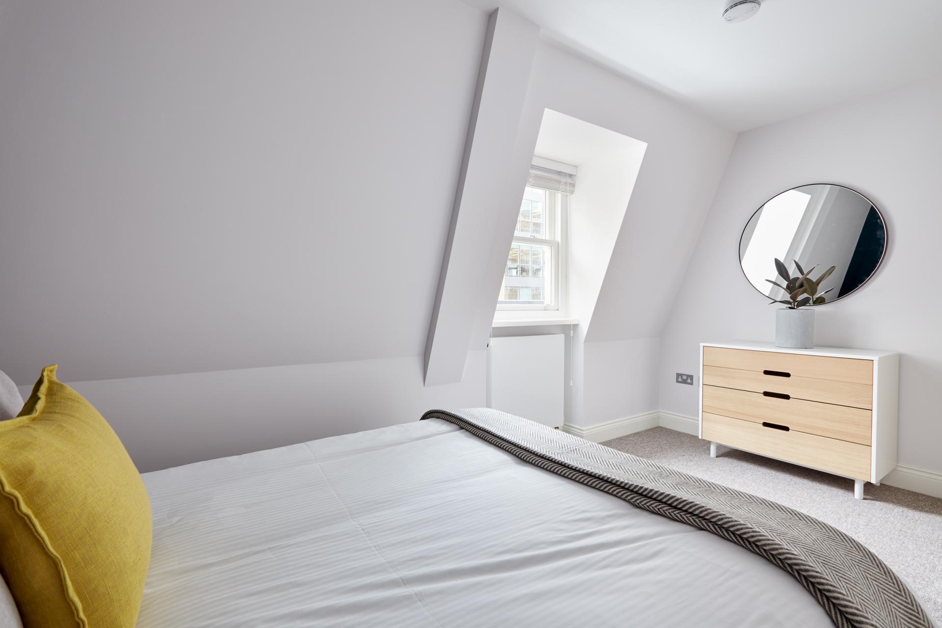 Bright bedroom at Virginia House Apartments, Fitzrovia, London - Citybase Apartments