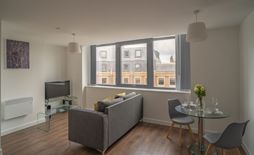 Living area at Dream Apartments Silkhouse Court, Centre, Liverpool - Citybase Apartments