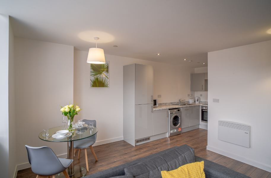 Open plan dining at Dream Apartments Silkhouse Court, Centre, Liverpool - Citybase Apartments