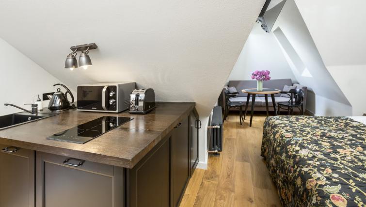 Studio kitchen at Antique Apartments - Citybase Apartments