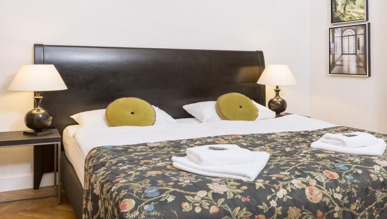 Double bed at Antique Apartments - Citybase Apartments