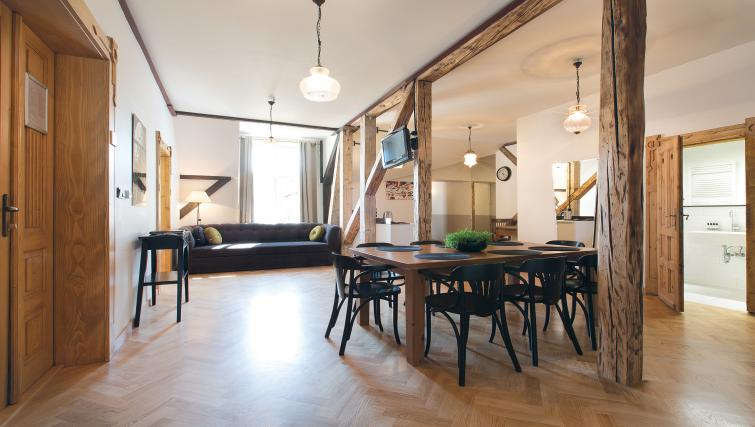Open plan living area at Antique Apartments - Citybase Apartments