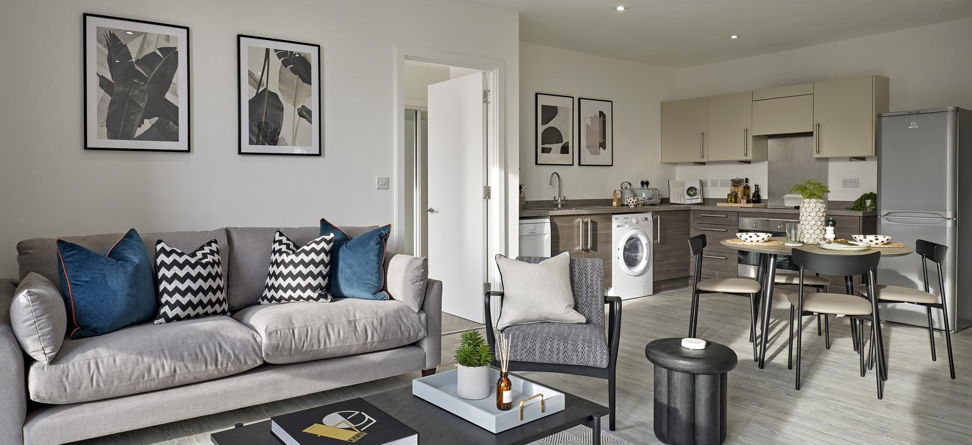 Living area at Manchester Media City Apartments By Charles Hope - Citybase Apartments