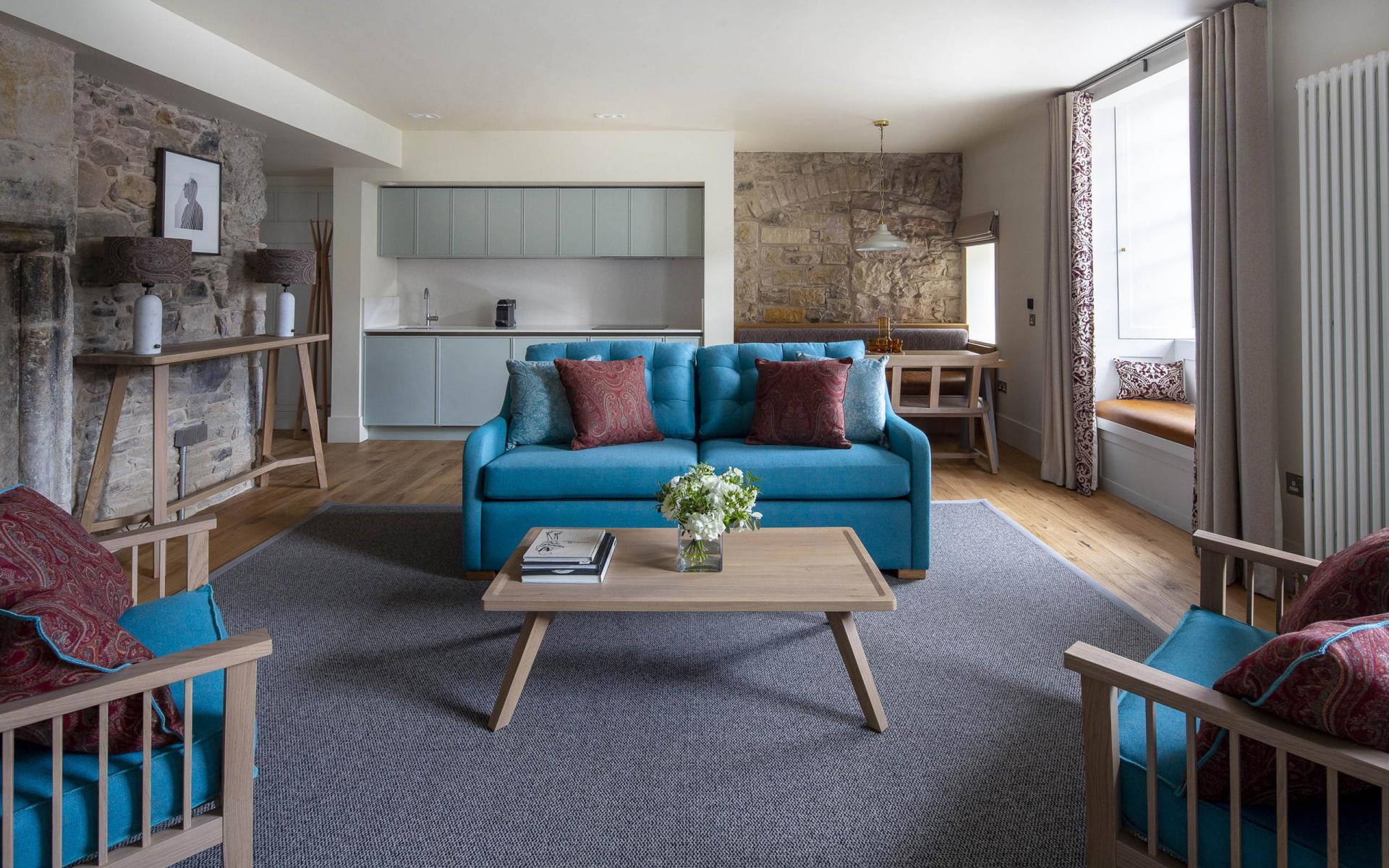Open plan living area at Cheval Abbey Strand, Old Town, Edinburgh - Citybase Apartments