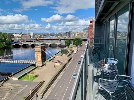 Balcony view at Clyde Waterfront Apartment - Citybase Apartments