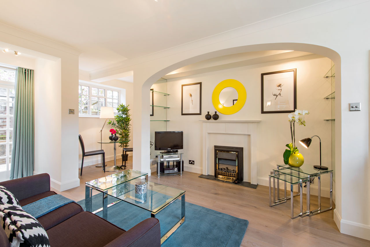 Living area at Chelsea - West House Apartment, Chelsea, London - Citybase Apartments
