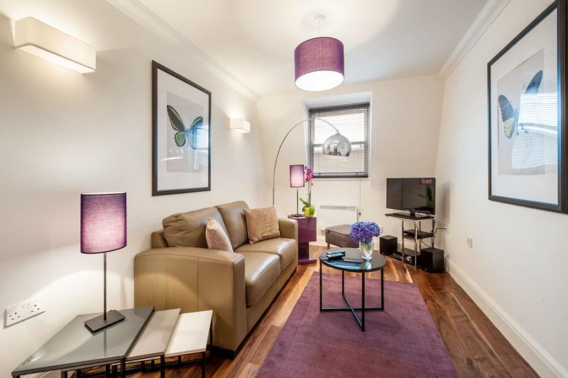 Living area at Marylebone - Chiltern Street Apartments, Marylebone, London - Citybase Apartments