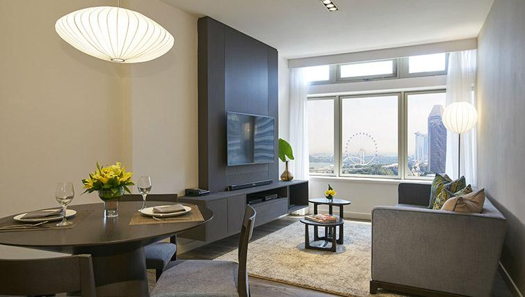 Living space at PARKROYAL Serviced Suites Singapore - Citybase Apartments