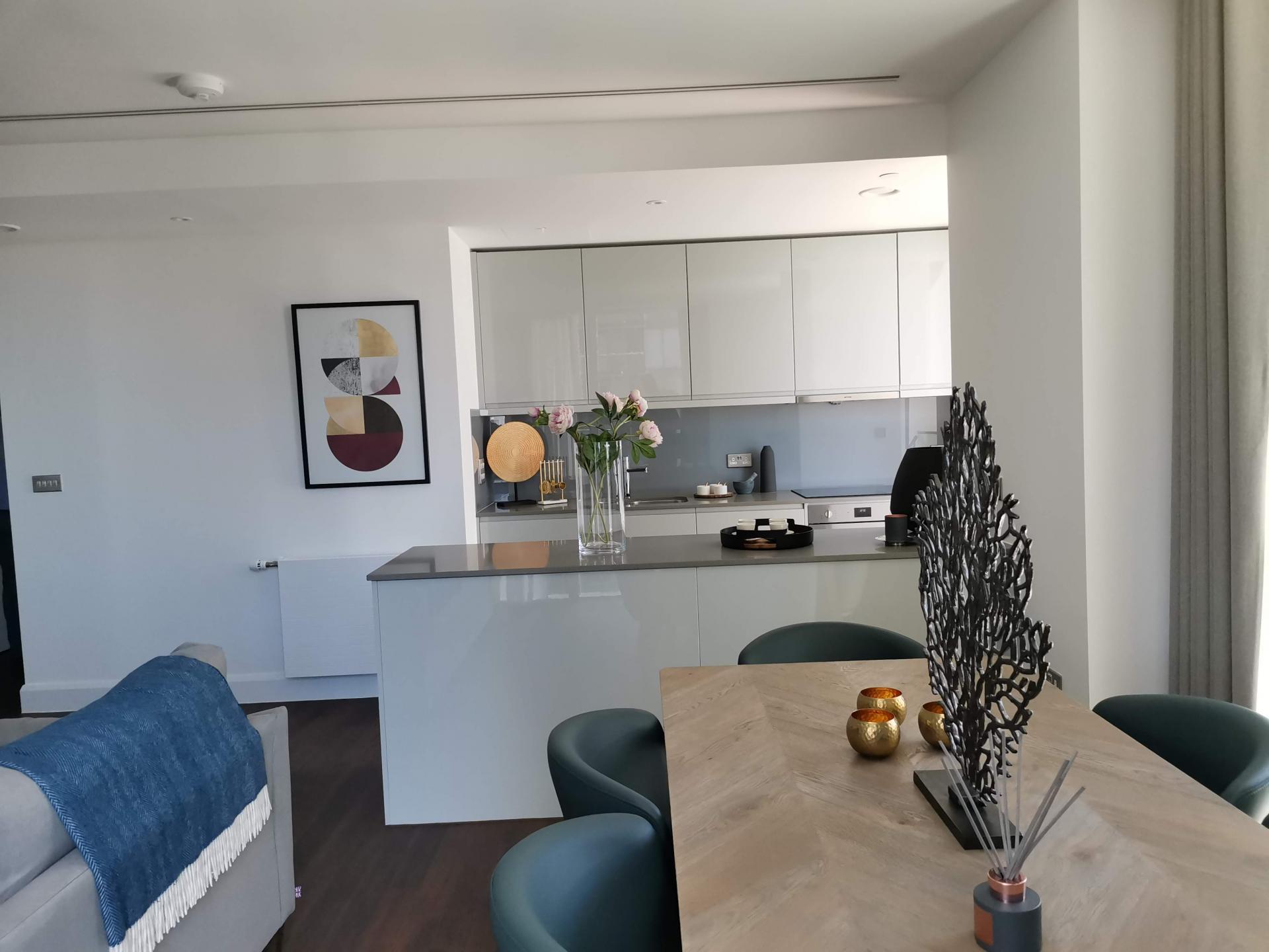Living area at Charles Hope Canary Wharf, Canary Wharf, London - Citybase Apartments
