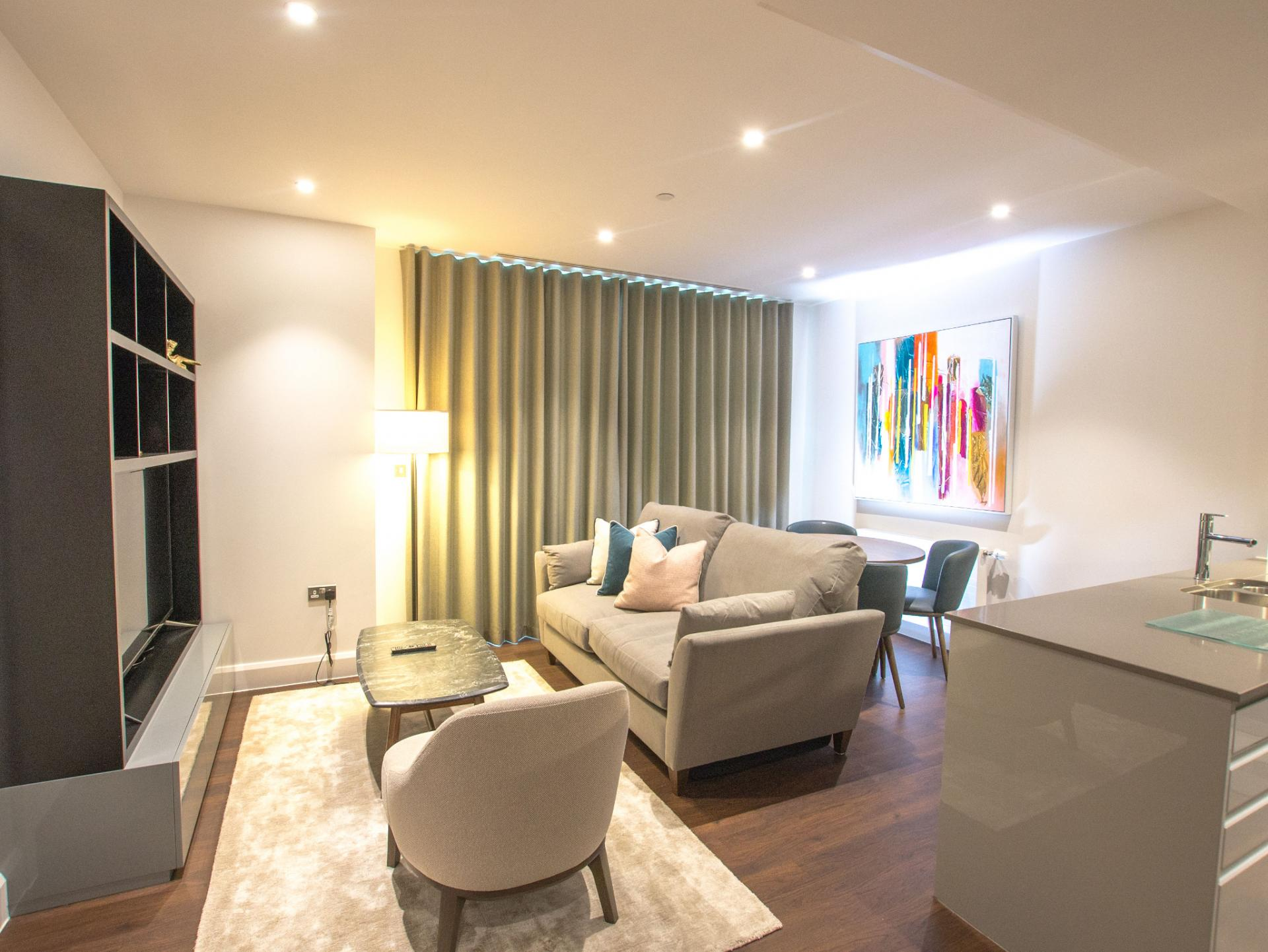 Living area at Canary Wharf Apartments By Charles Hope, Canary Wharf, London - Citybase Apartments